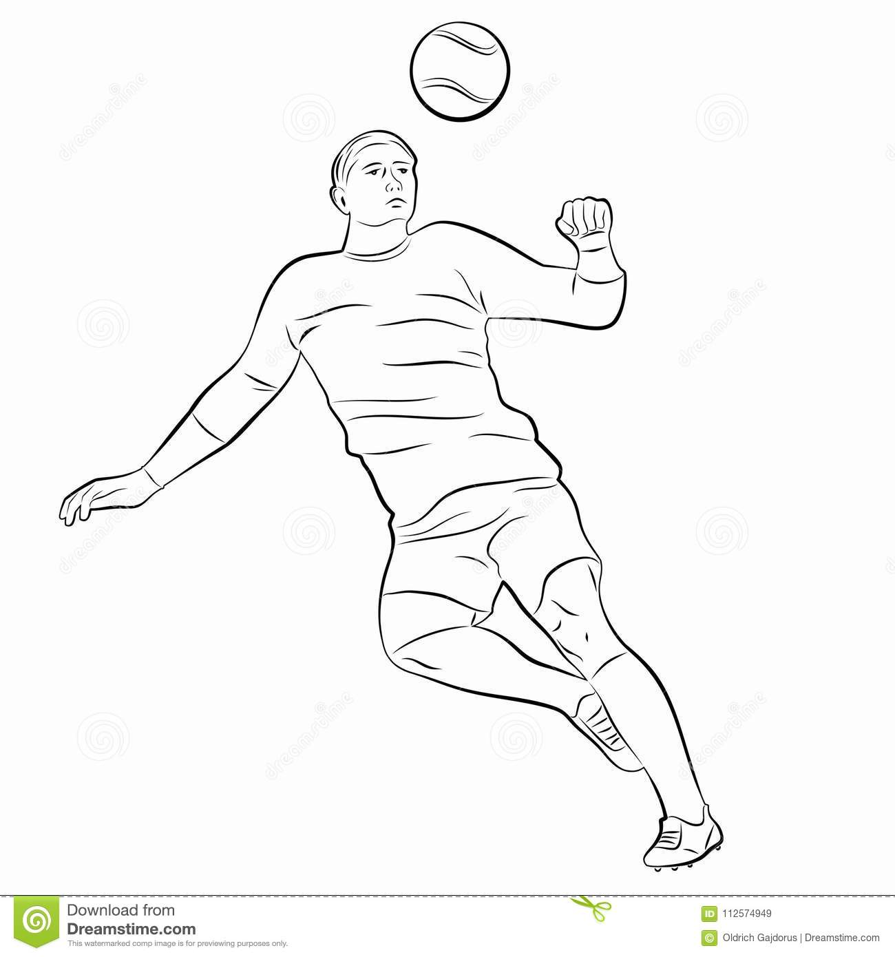 Silhouette Of Soccer Player, Vector Draw Stock Vector