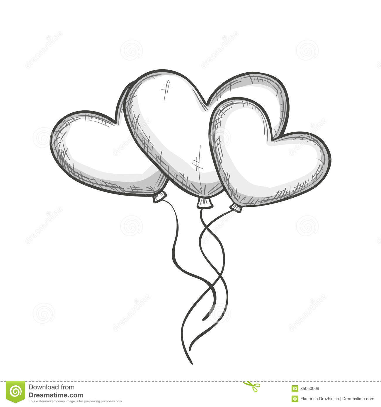 Sketch Of Heart Shaped Balloons Stock Vector - Image 85050008