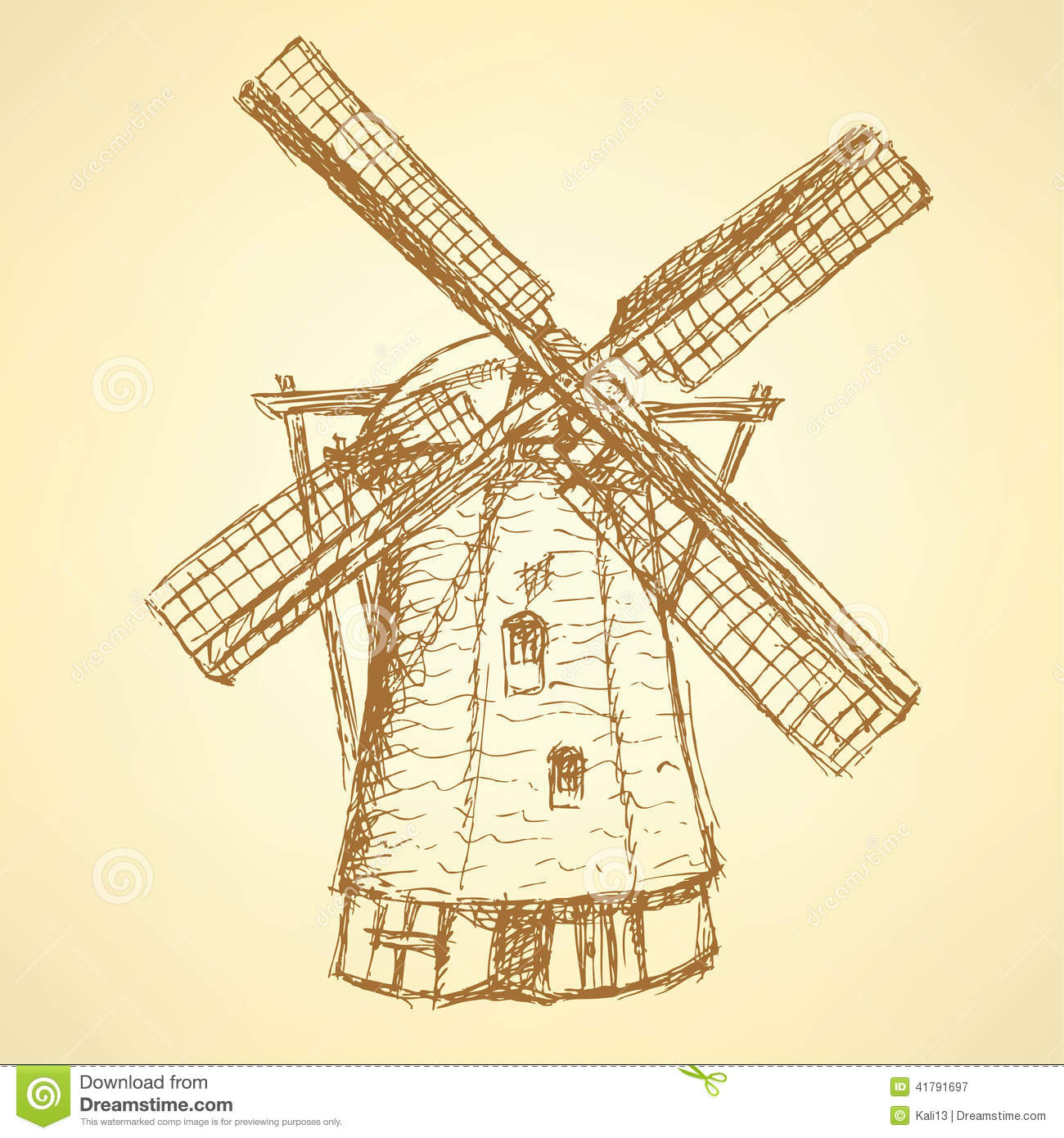 Sketch Holand Windmill, Vector Vintage Background Stock Vector - Image ...