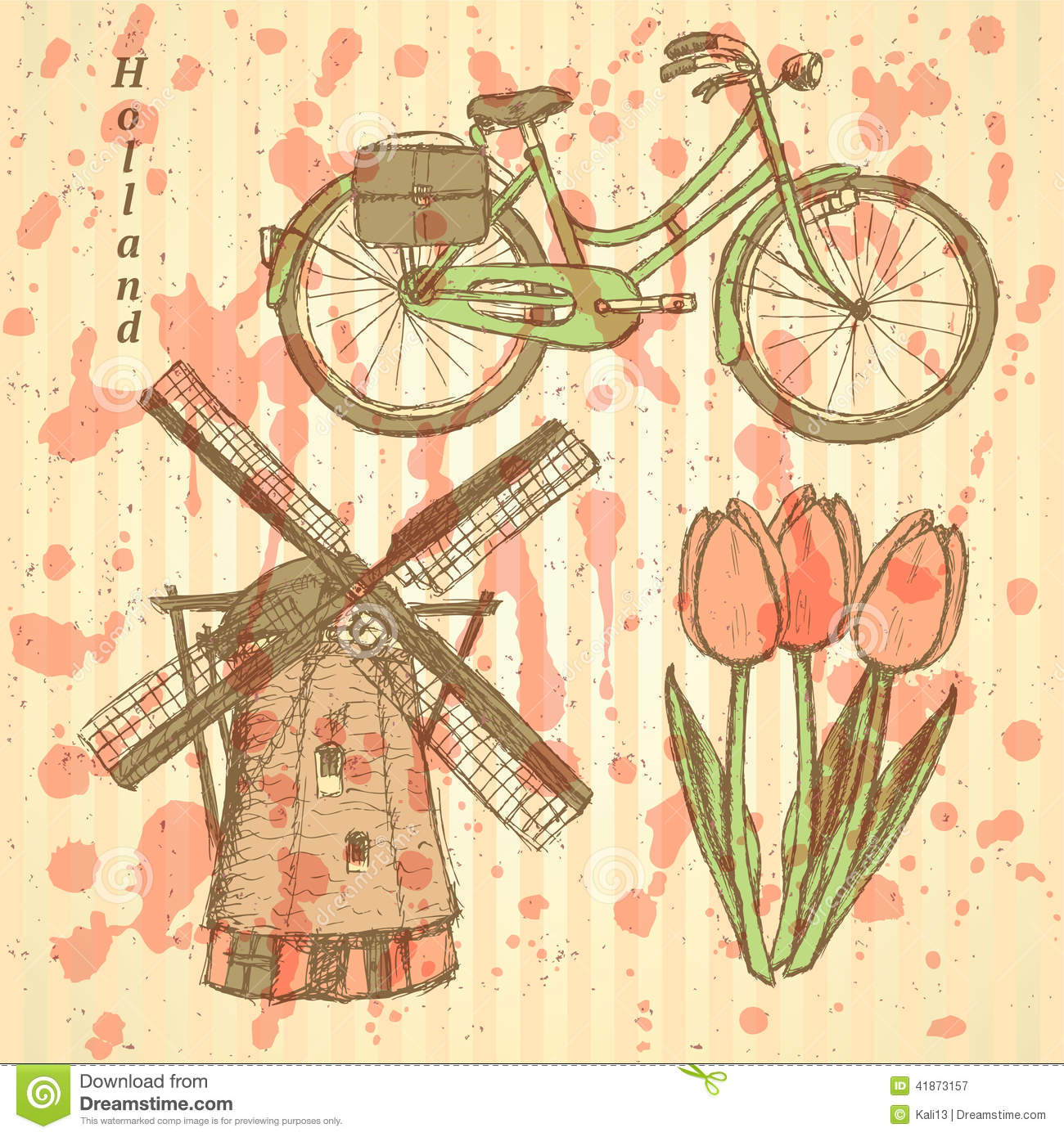 Sketch Holland Windmill, Bicycle And Tulip, Vector Background Stock ...