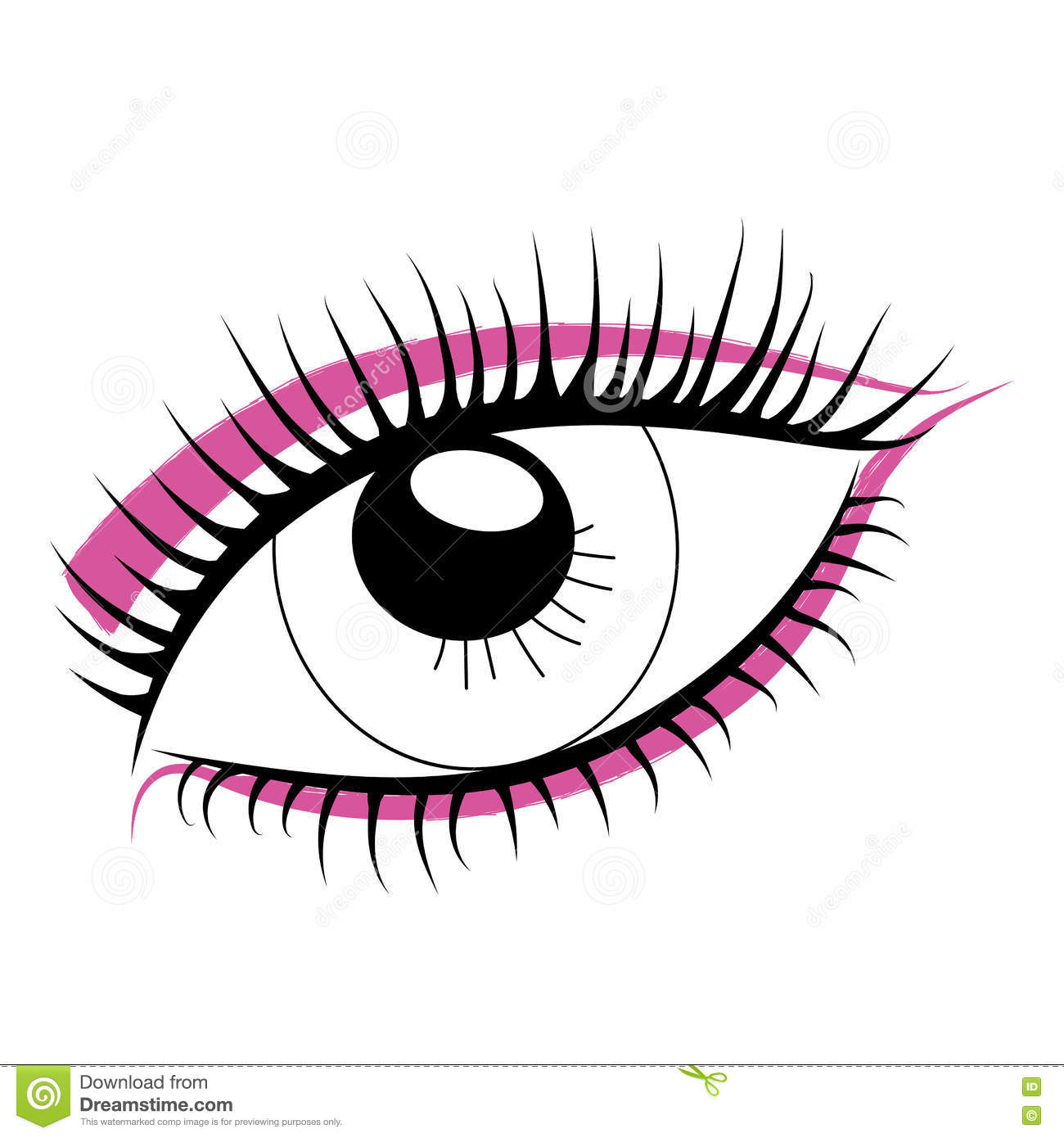 Sketch Of Human Eye On A White Background Bright Makeup Stock