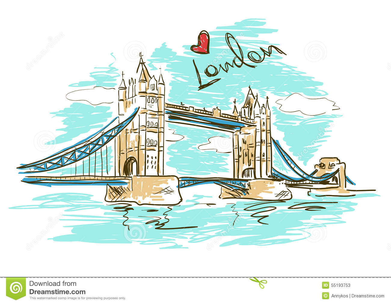 Stock Illustration Sketch Illustration Tower Bridge London Colorful White Background Image55193753 on tower bridge cartoon