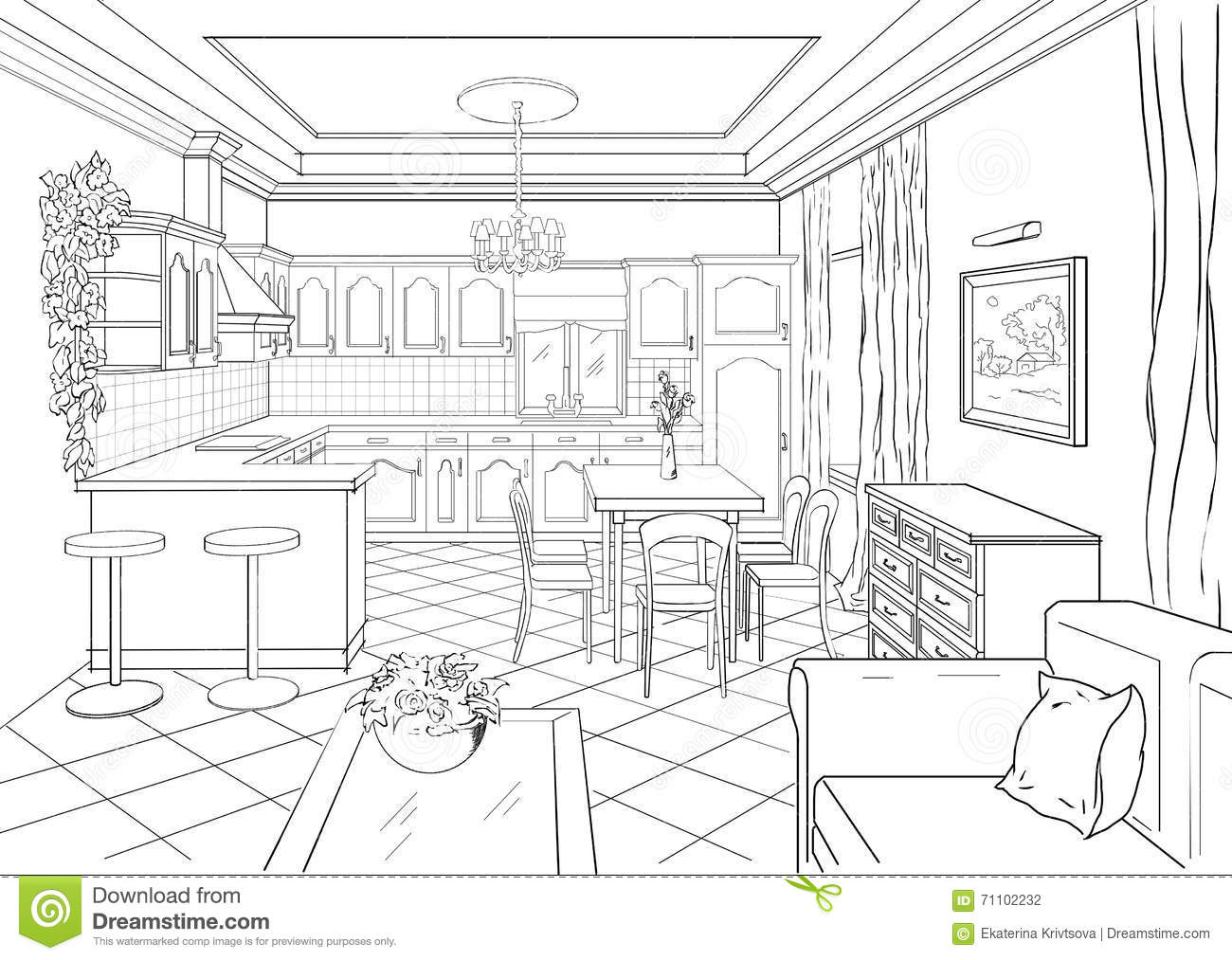 Sketch Interior In Classic Style Stock Illustration