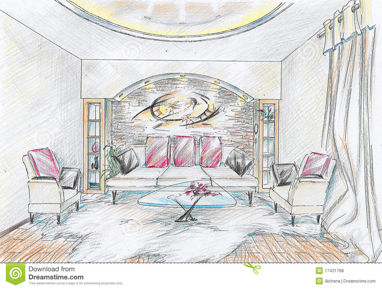 Sketch of interior of drawing room stock illustration for Online drawing room