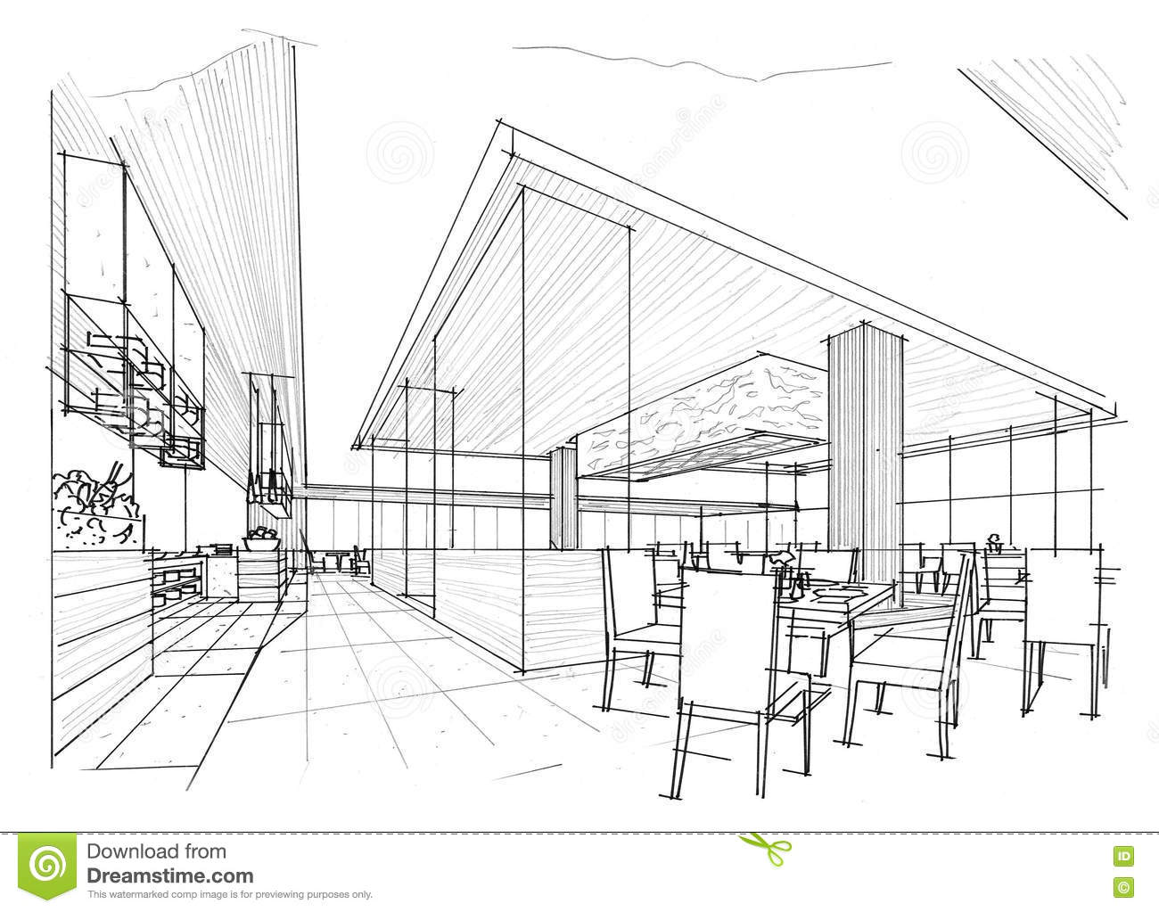 sketch interior perspective all day black and white