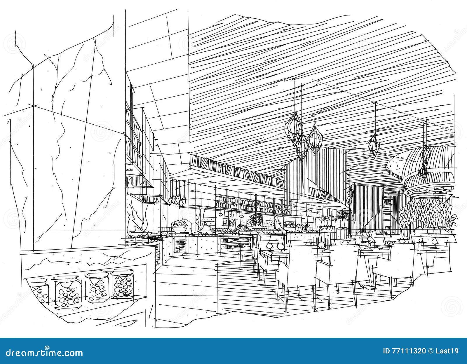 Sketch interior perspective all day restaurant black