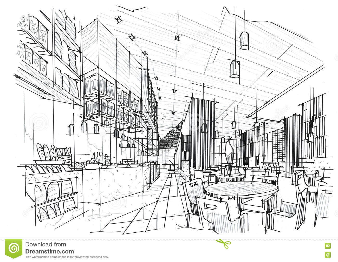 Sketch interior perspective all day restaurant black