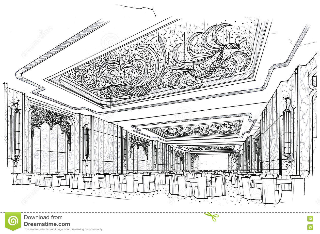 Sketch Interior Perspective Ballroom Black And White
