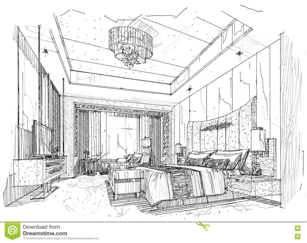 Sketch interior perspective bedroom black and white for Drawing room bed design
