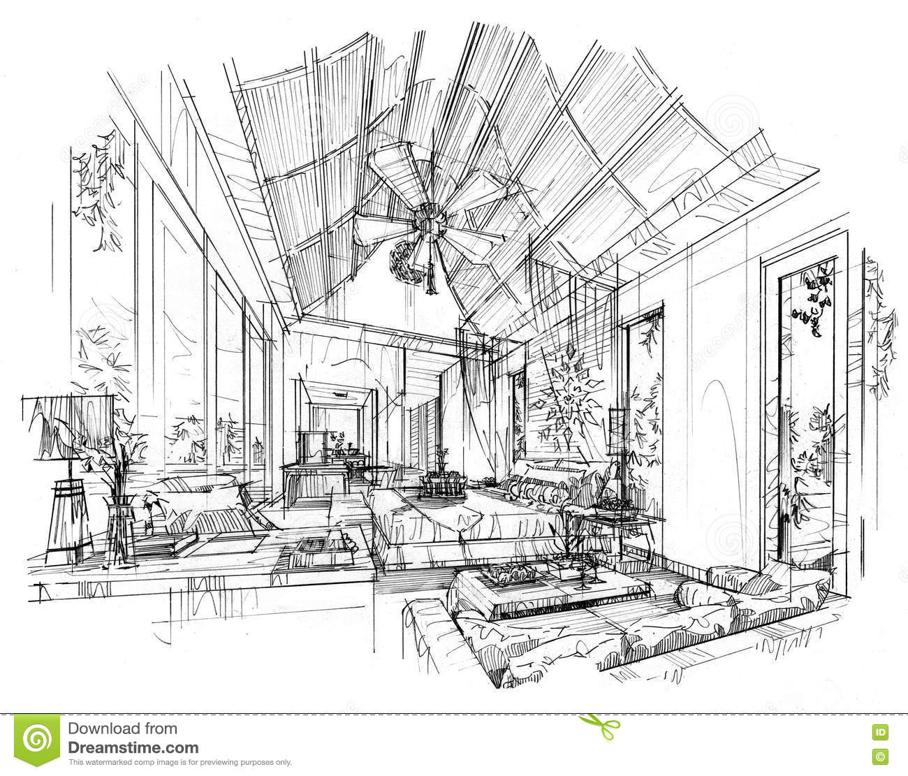Bedroom drawing with color - Sketch Interior Perspective Bedroom Black And White Interior Design Stock Images