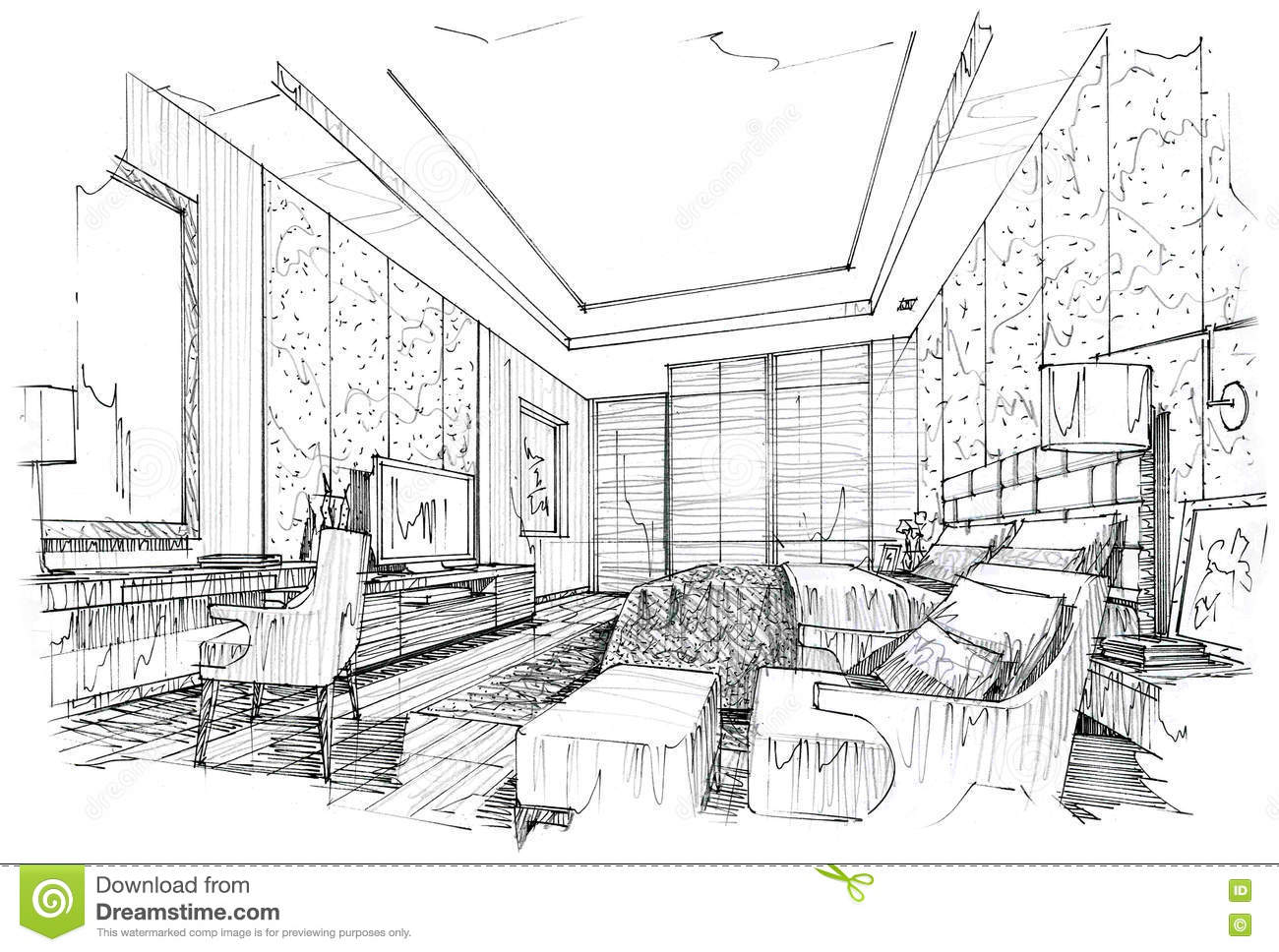 Bedroom drawing perspective - Sketch Interior Perspective Bedroom Black And White Interior Design
