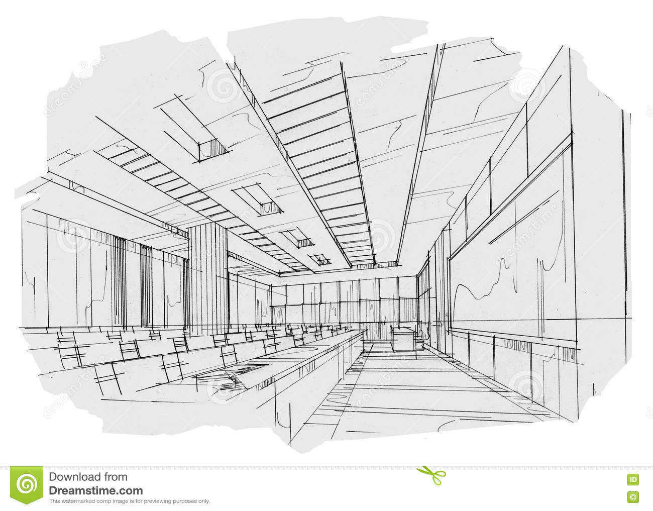 Classroom Design Drawings ~ Sketch interior perspective classroom black and white