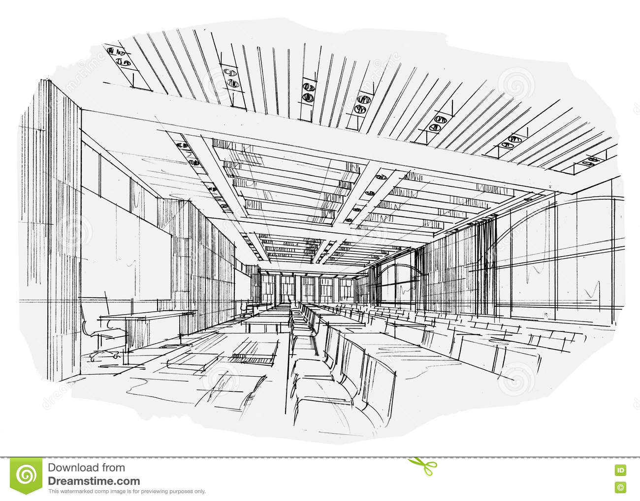 Classroom Design Sketch : Sketch interior perspective classroom black and white