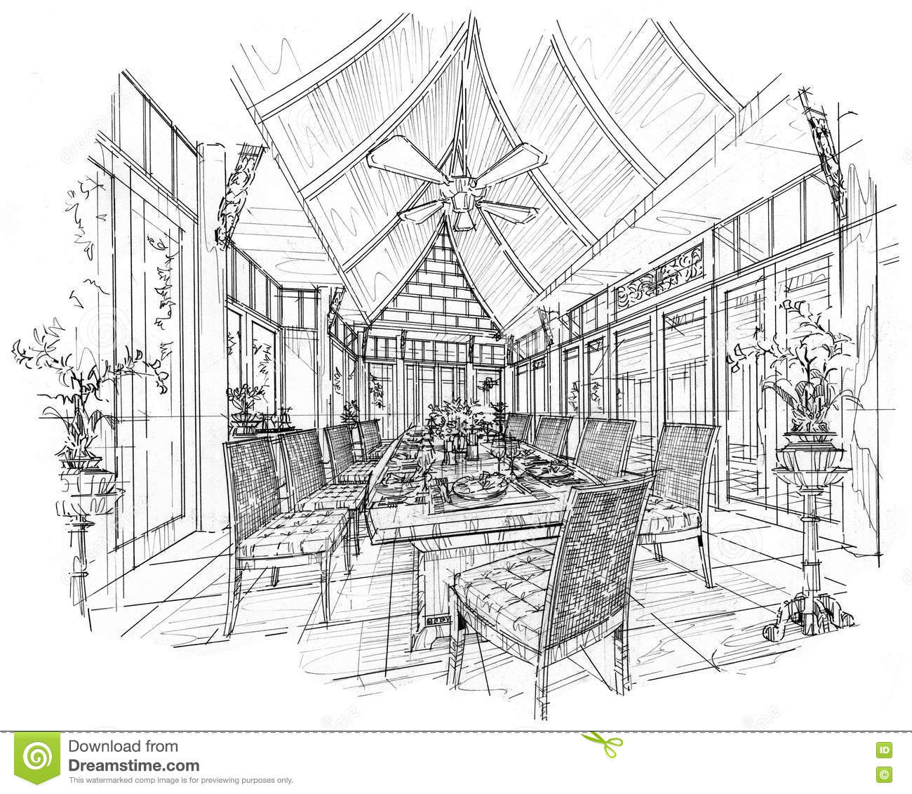 Sketch interior perspective dining room black and white