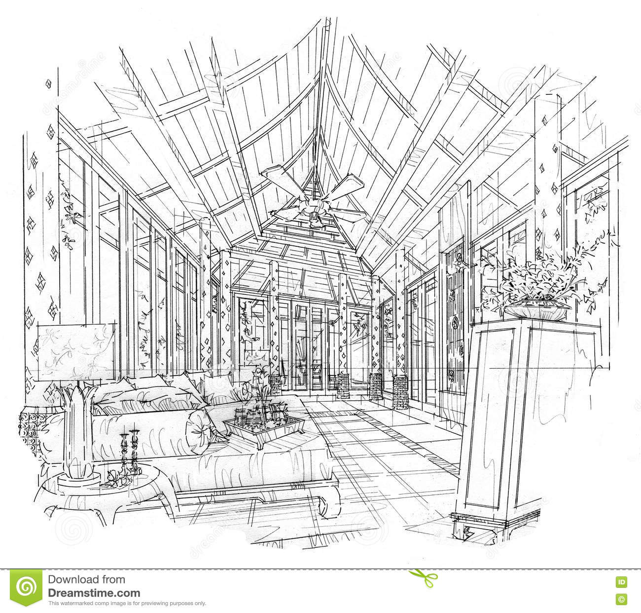 Sketch Interior Perspective Living Room Black And White Interior