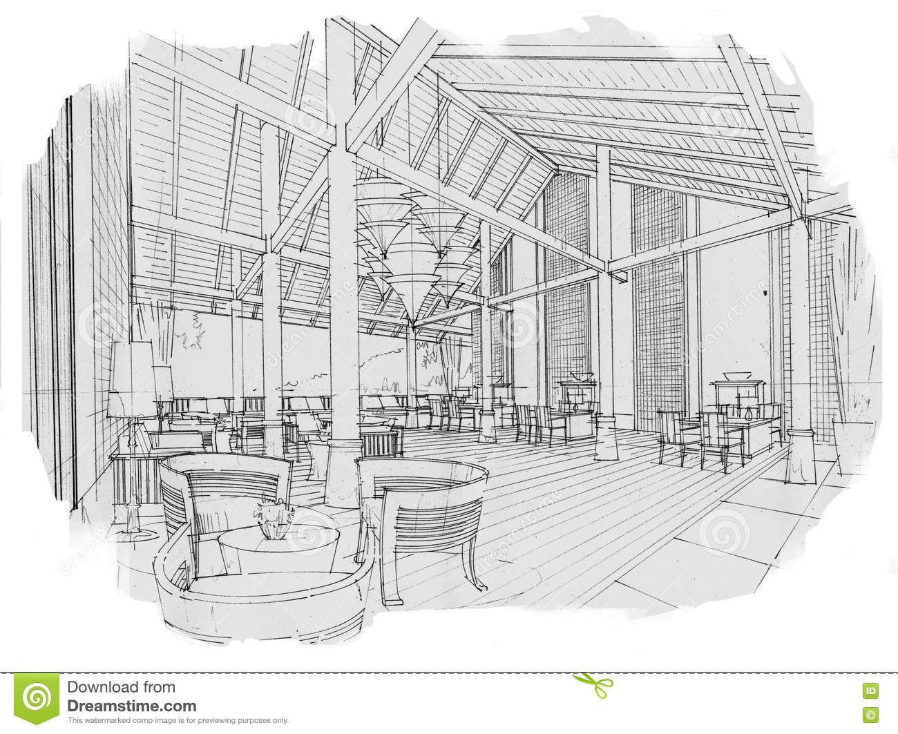 Sketch Interior Perspective Lobby Hall, Black And White ...
