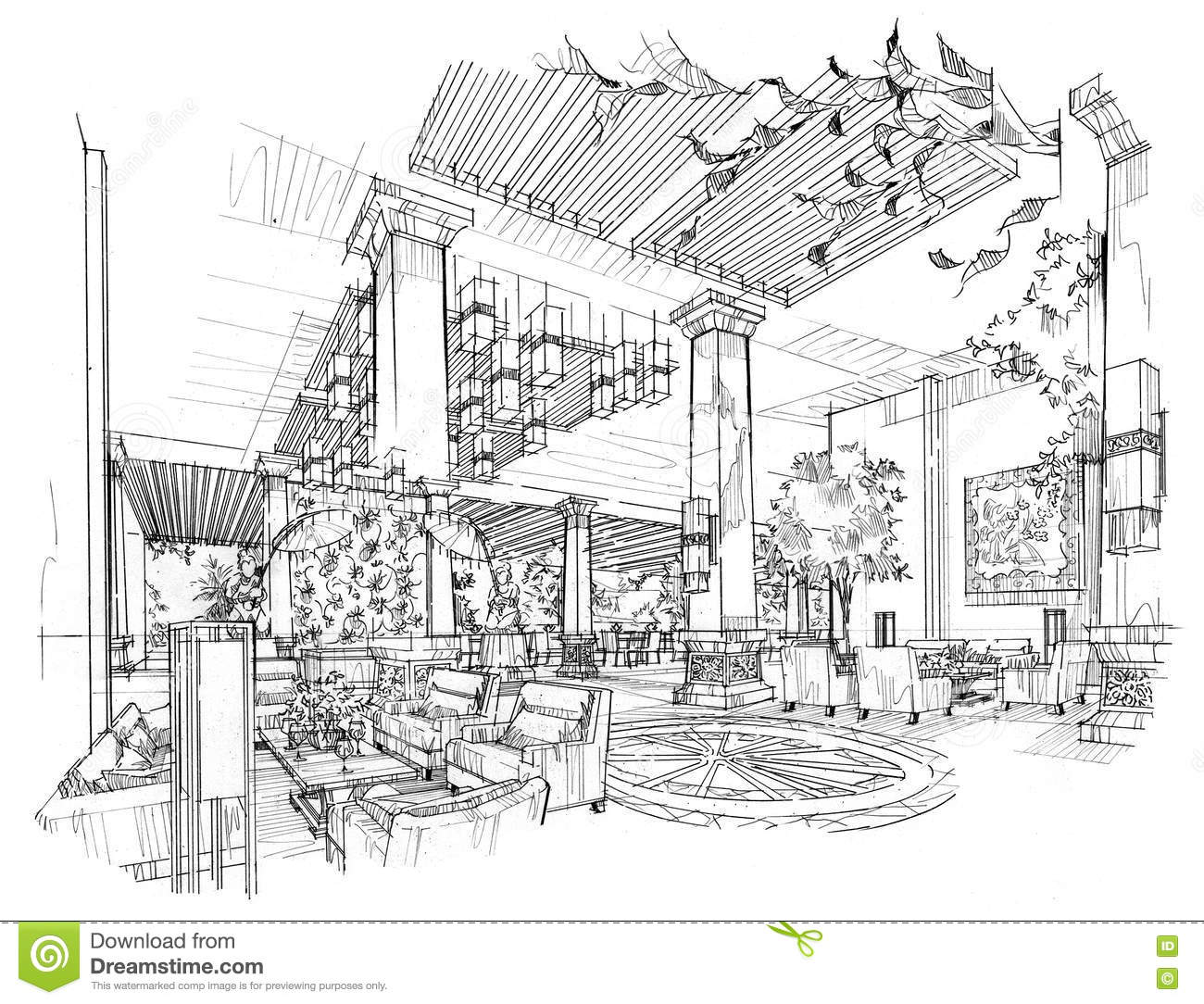 Sketch Interior Perspective Lobby Hall, Black And White Interior Design.