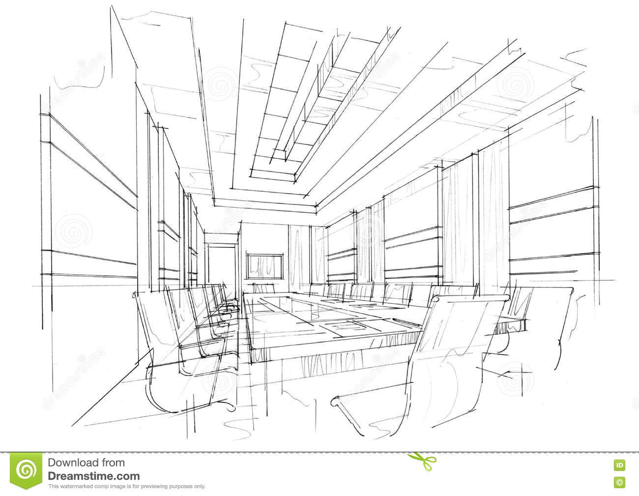 sketch interior perspective meeting room black and white