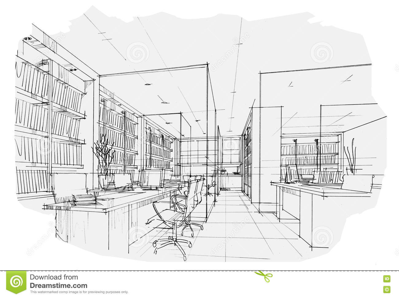 Sketch Interior Perspective Office Black And White
