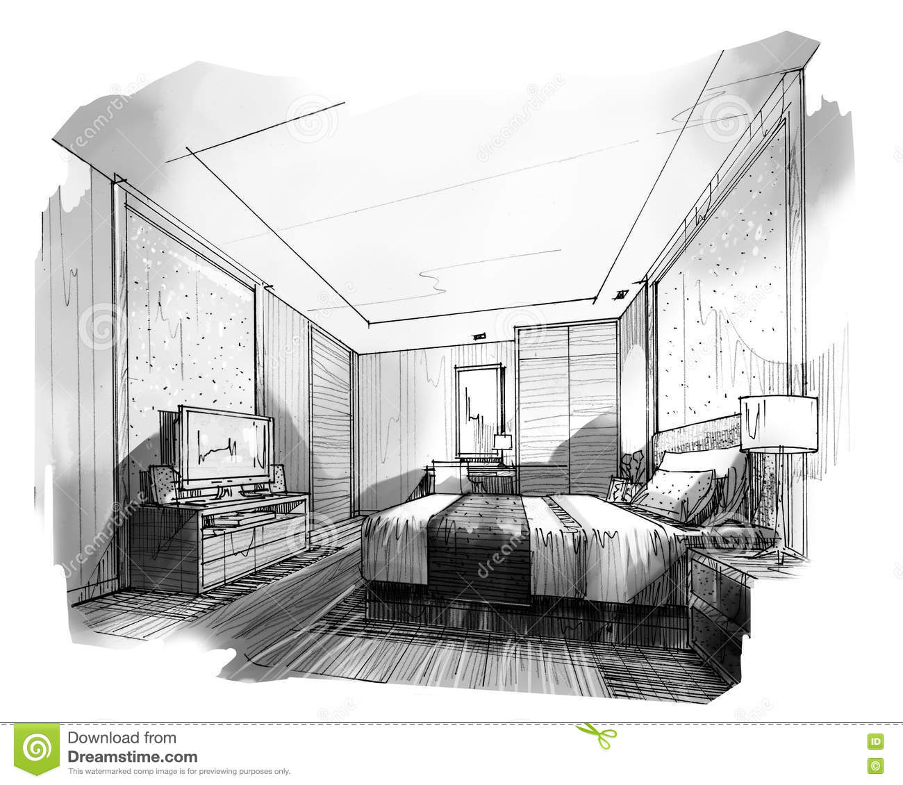 Bedroom drawing with color - Sketch Interior Perspective Stripes Bedroom Stock Images