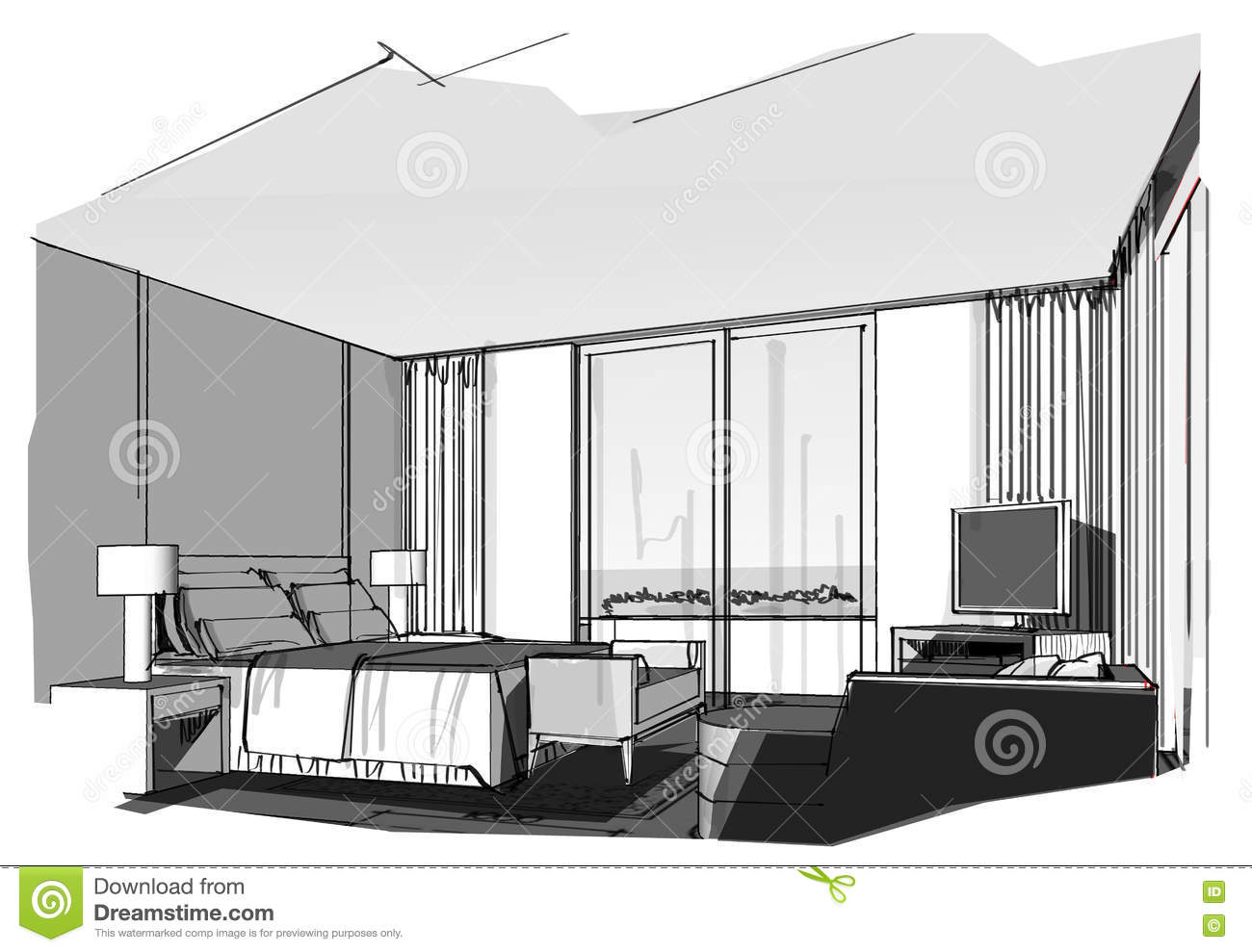 Bedroom drawing with color - Sketch Interior Perspective Stripes Bedroom Stock Image