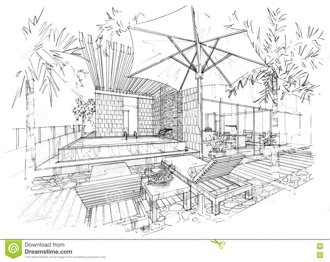 Sketch Interior Perspective Swimming Pool Black And White