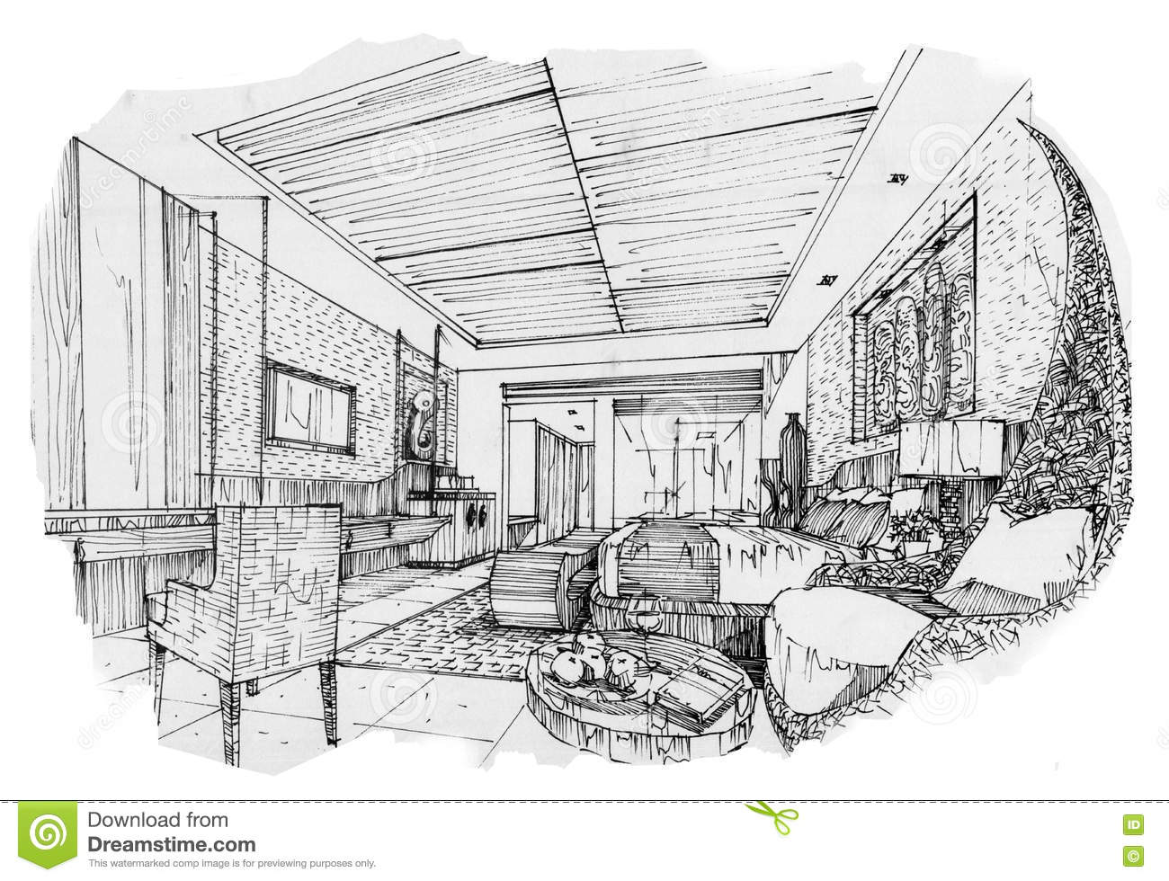 Sketch Interior Perspective Swimming Pools, Black And White ...