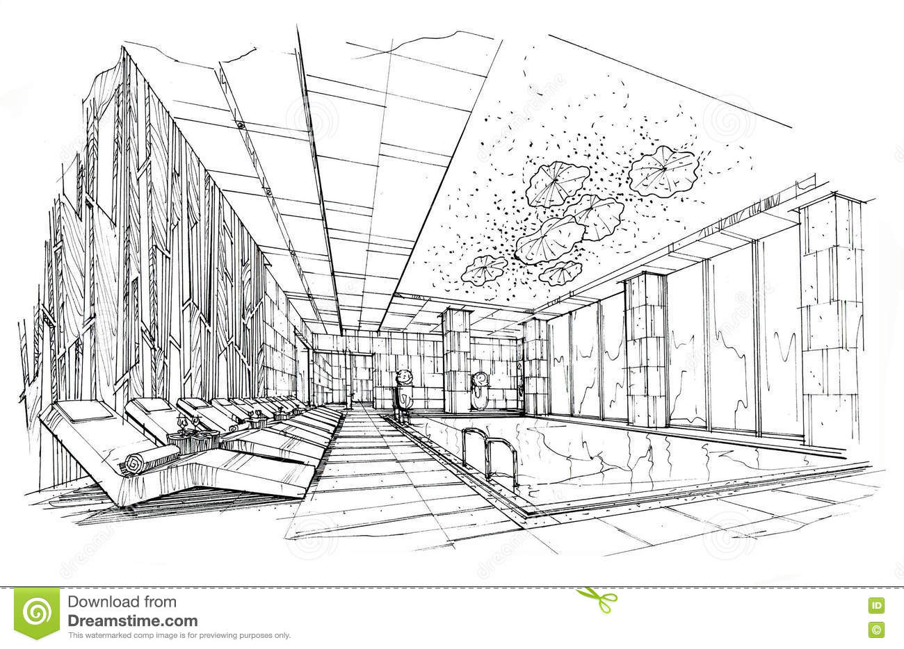 Sketch interior perspective swimming pools black and for Swimming pool sketch