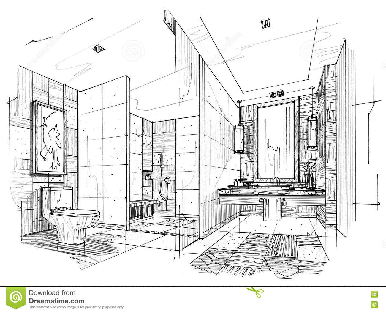 Sketch interior perspective toilet bathroom black and for Bathroom designs drawing