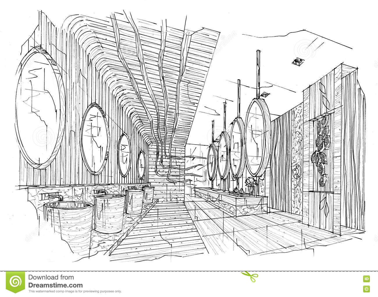 Bathroom perspective drawing - Sketch Interior Perspective Toilet Bathroom Black And White Interior Design