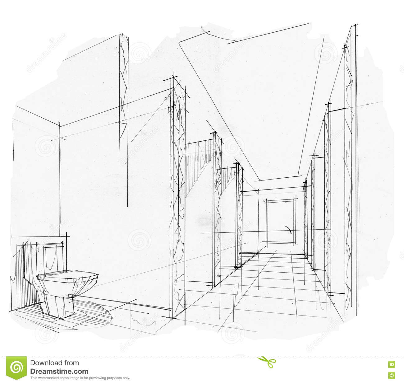 Sketch Interior Perspective Toilet, Black And White Interior ...