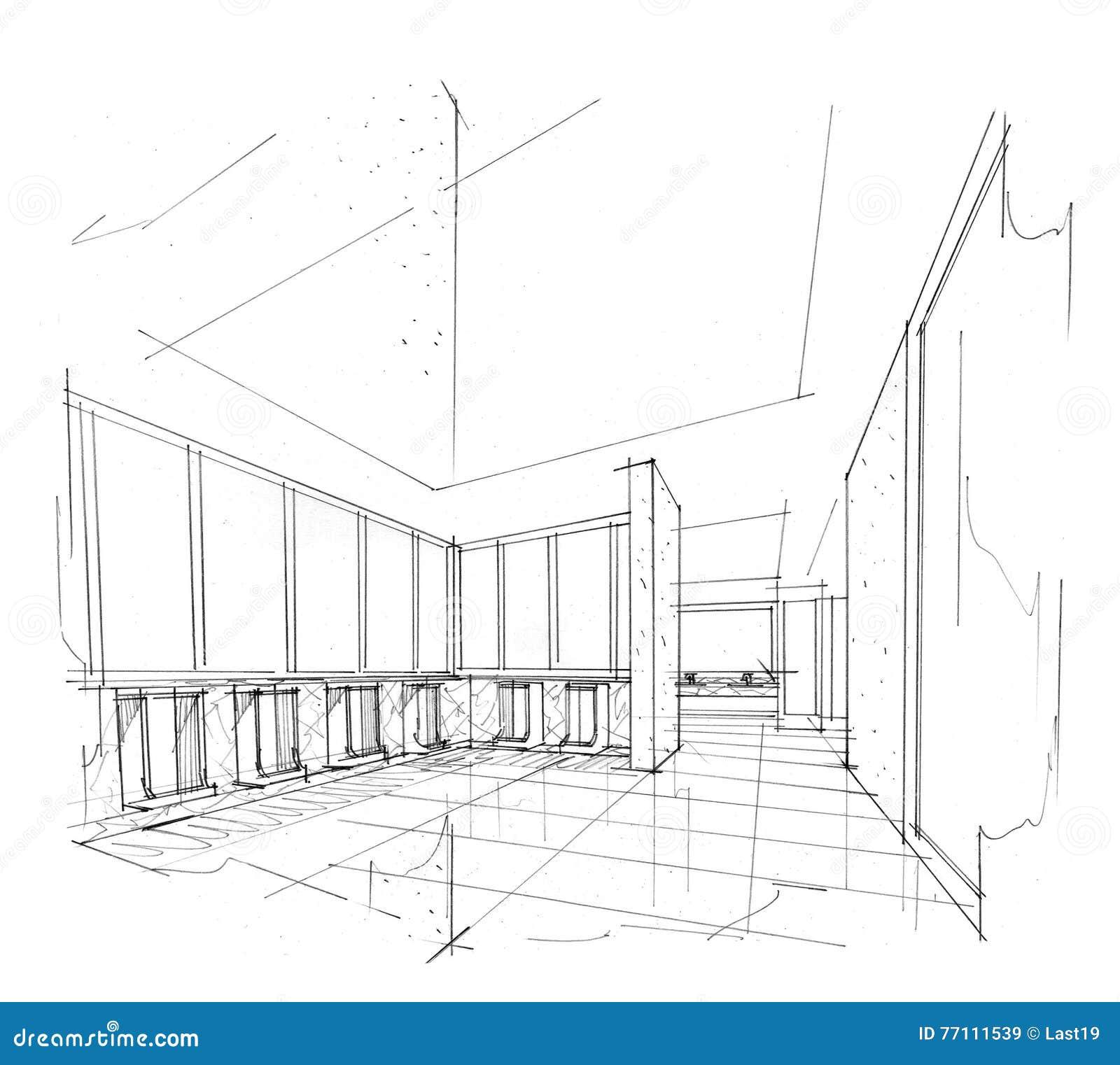Sketch Interior Perspective Toilet , Black And White Interior Design. Stock  Illustration