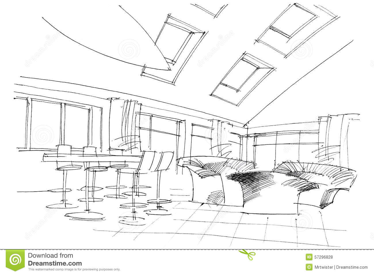 Sketch Interior Of A Public Building Stock Photography