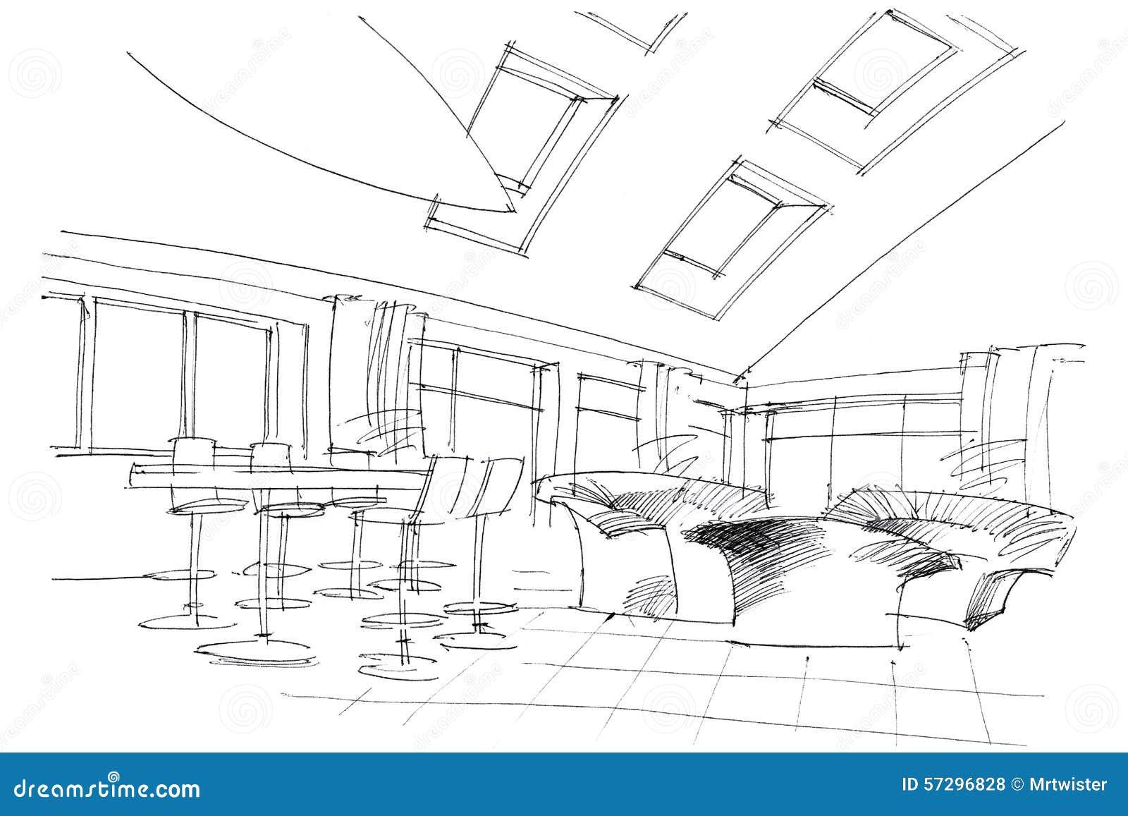 Cafe drawing interior - Sketch Interior Of A Public Building