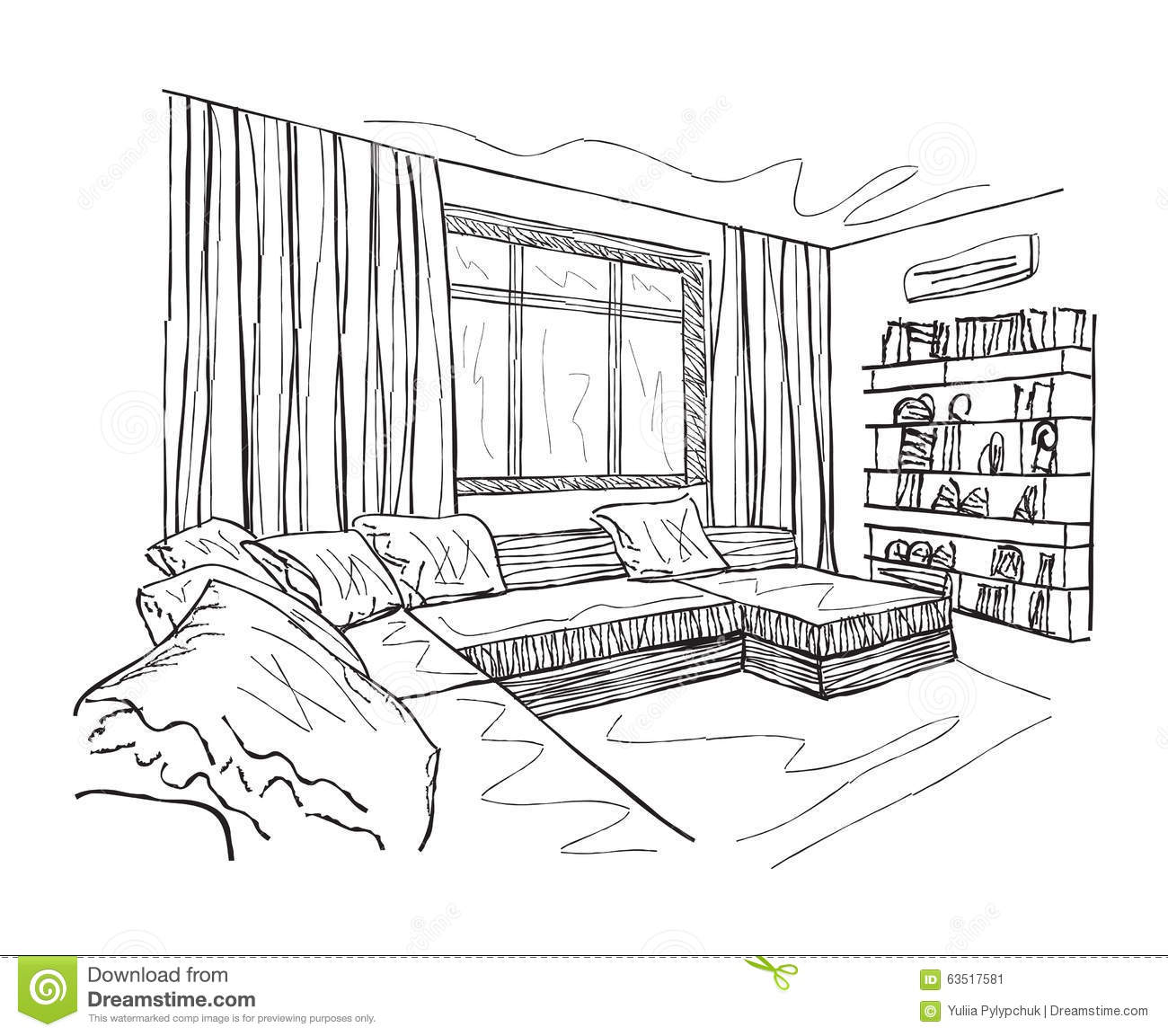 Sketch Of An Interior Stock Vector