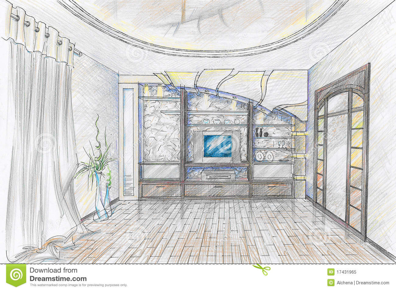 Sketch Of Interior Of Sitting Room Royalty Free Stock Photo