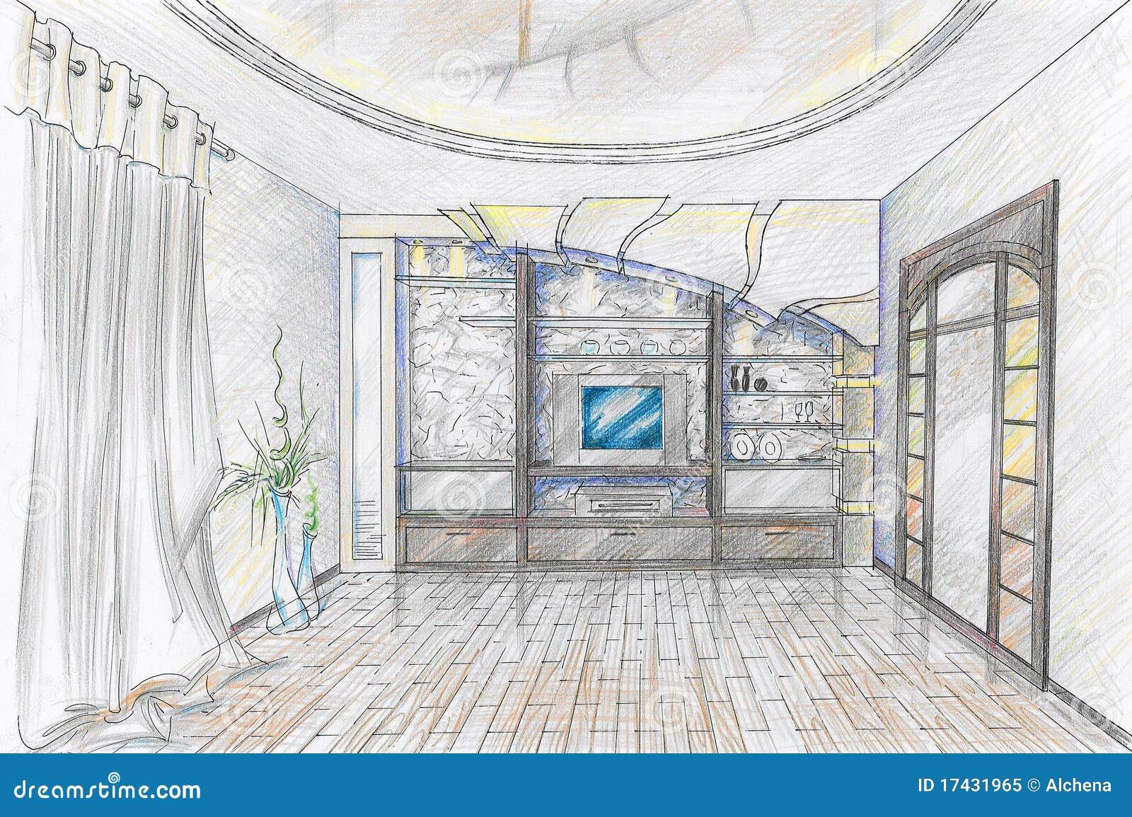 Sketch Of Interior Of Sitting Room Stock Illustration