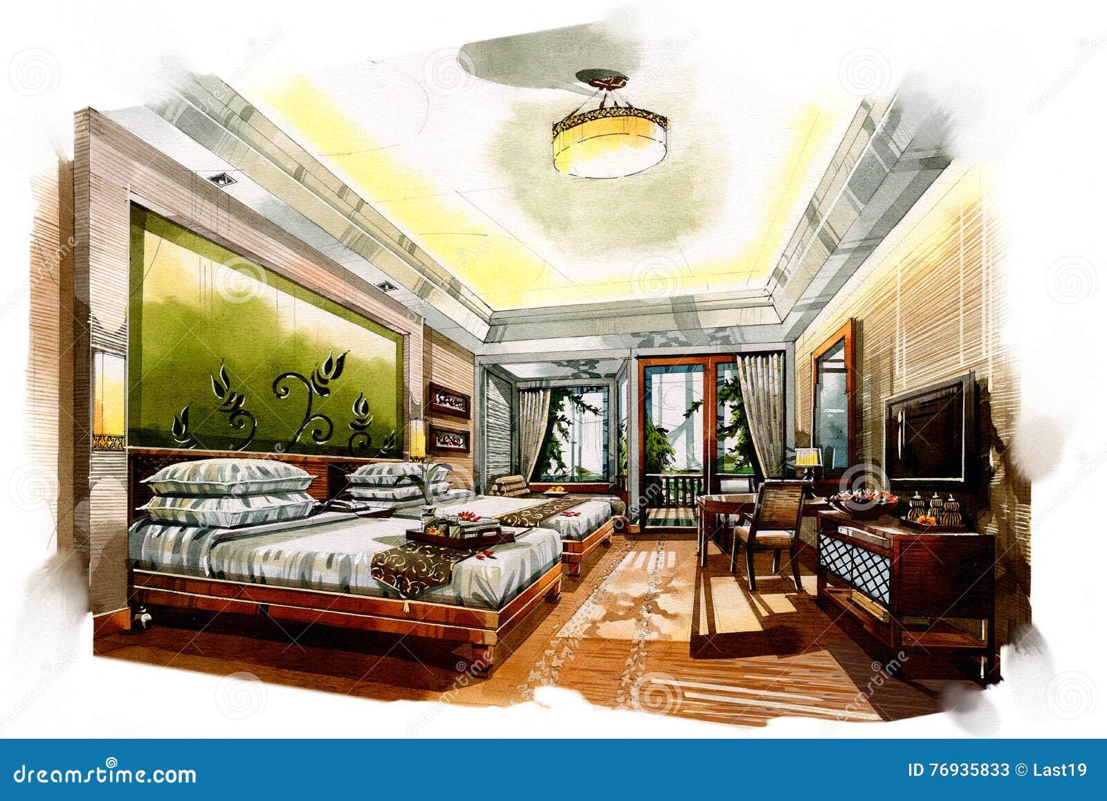 Sketch Interior Twin Bedroom Into A Watercolor Stock Illustration