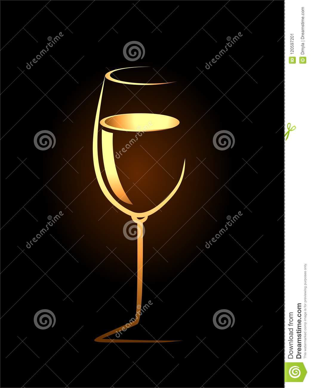 Sketch of isolated wine glass