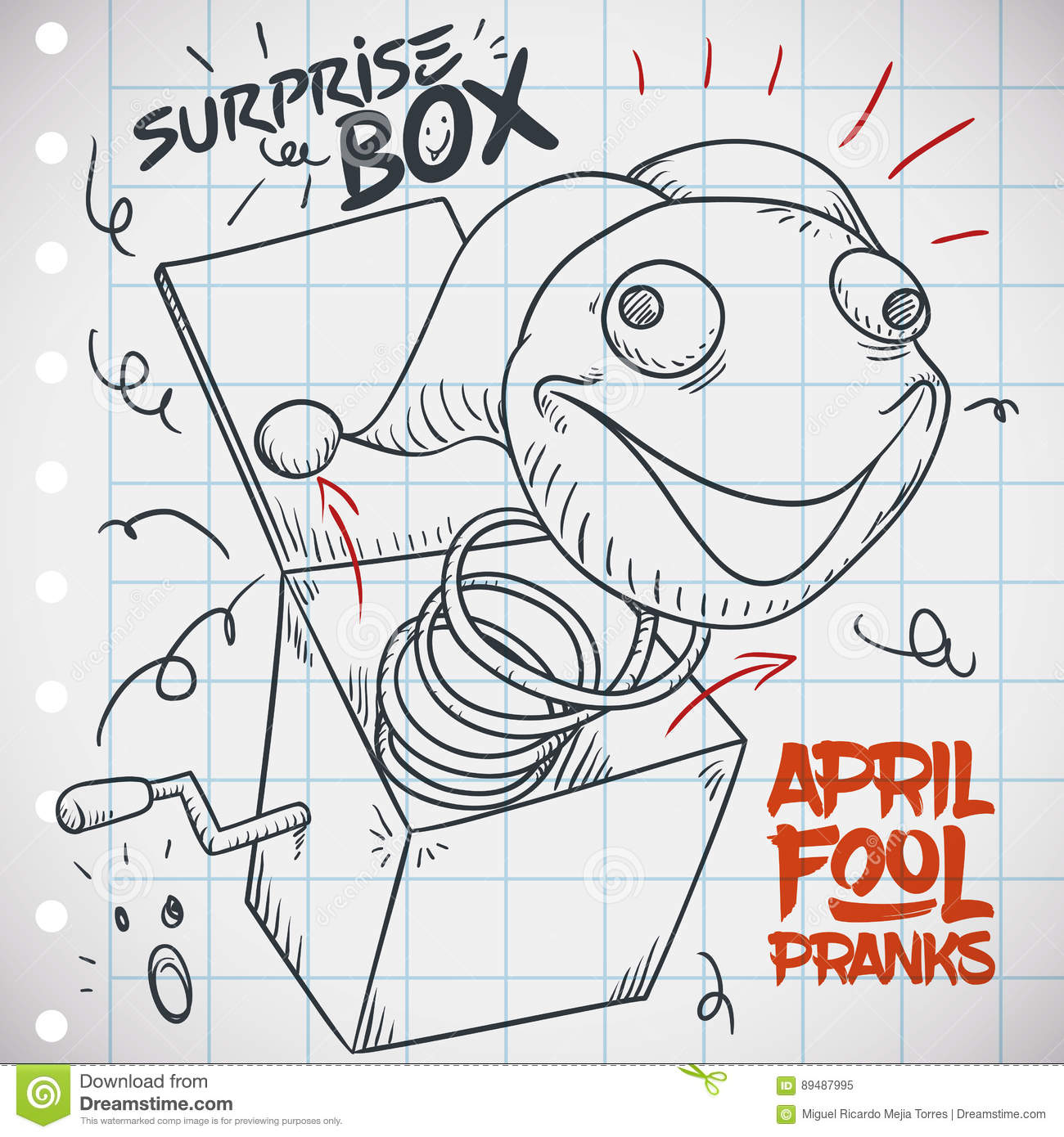 Sketch With Jack-in-the-box Prank For April Fools` Day, Vector ...