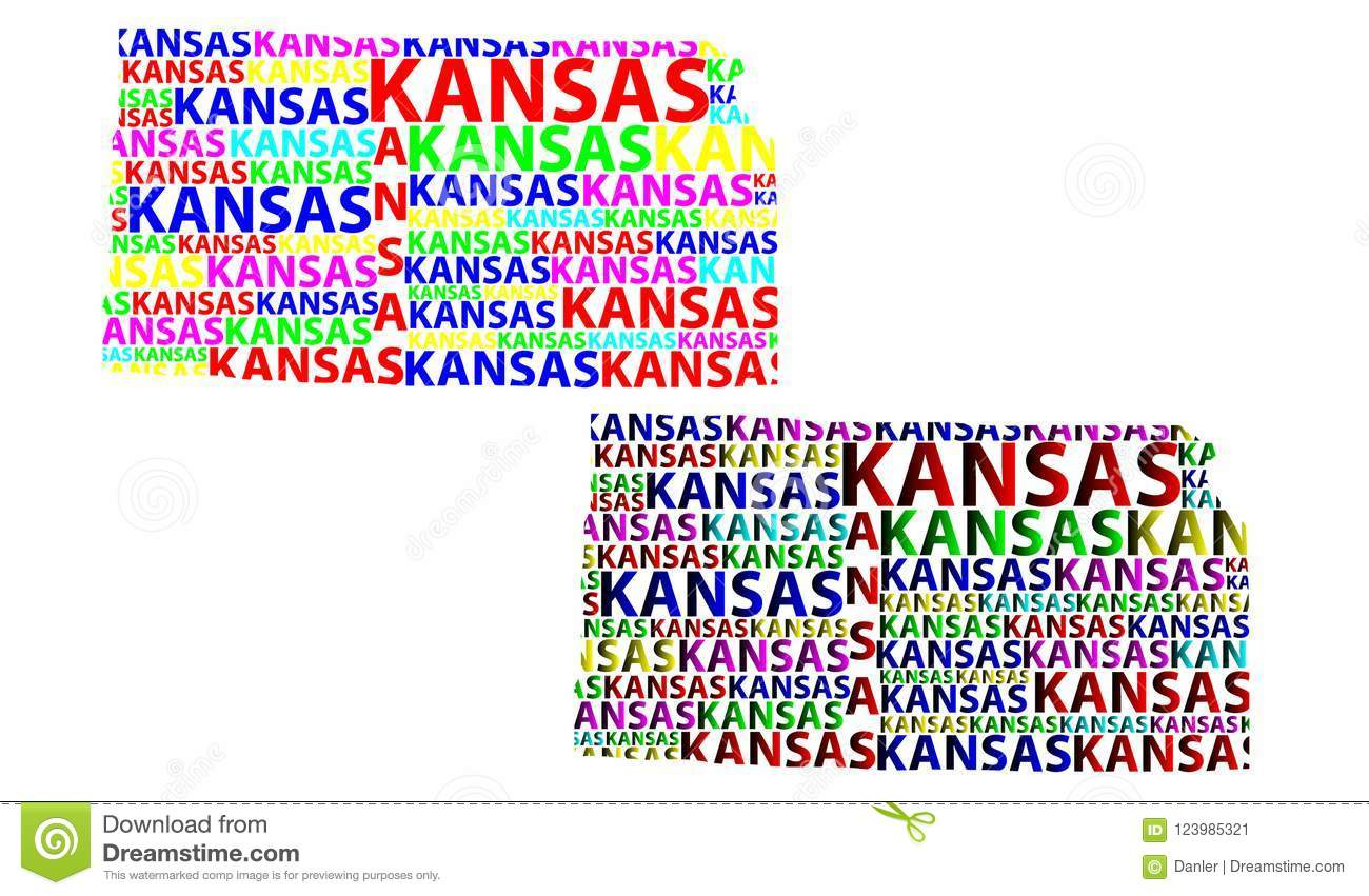 Map Of Kansas - Vector Illustration Stock Vector - Illustration of ...