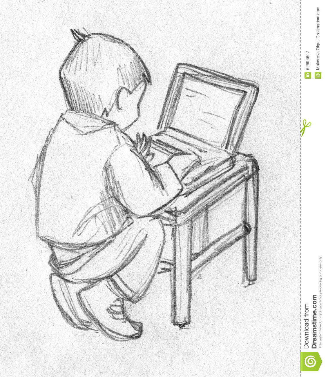 Sketch of a kid using computer download preview