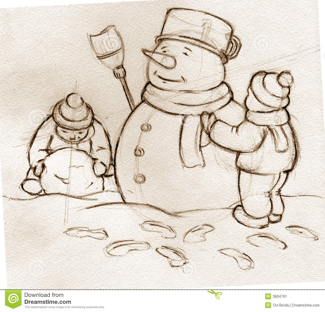 sketch kids building snowman stock image image 3604791