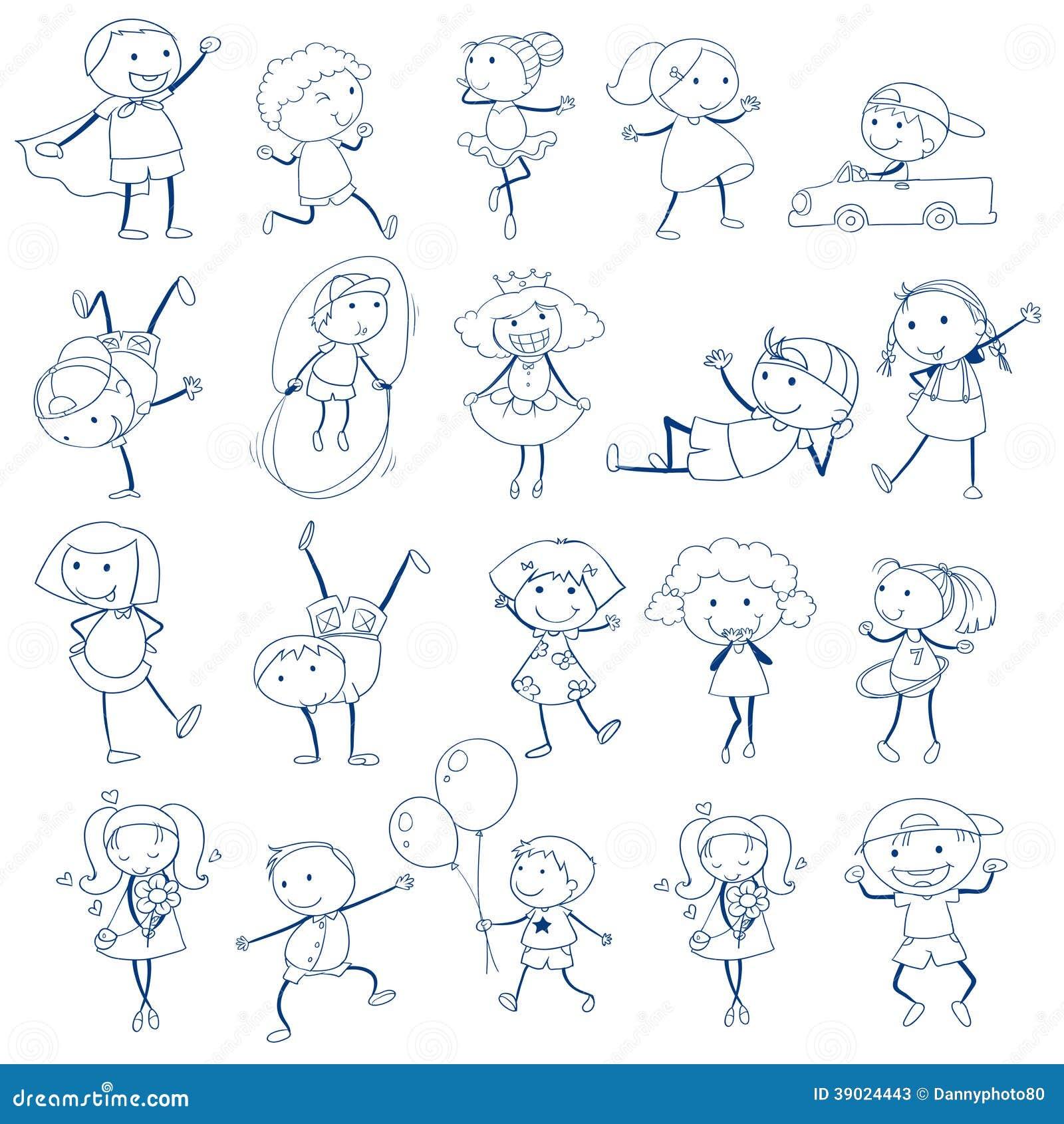 background illustration kids playing sketch - Sketch Images For Kids