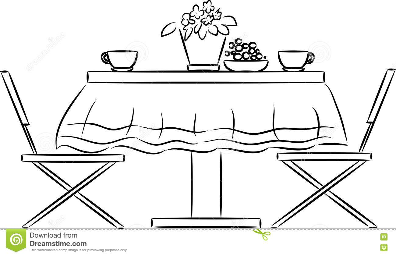 kitchen table clipart black and white. royalty-free vector. download sketch of kitchen table clipart black and white t