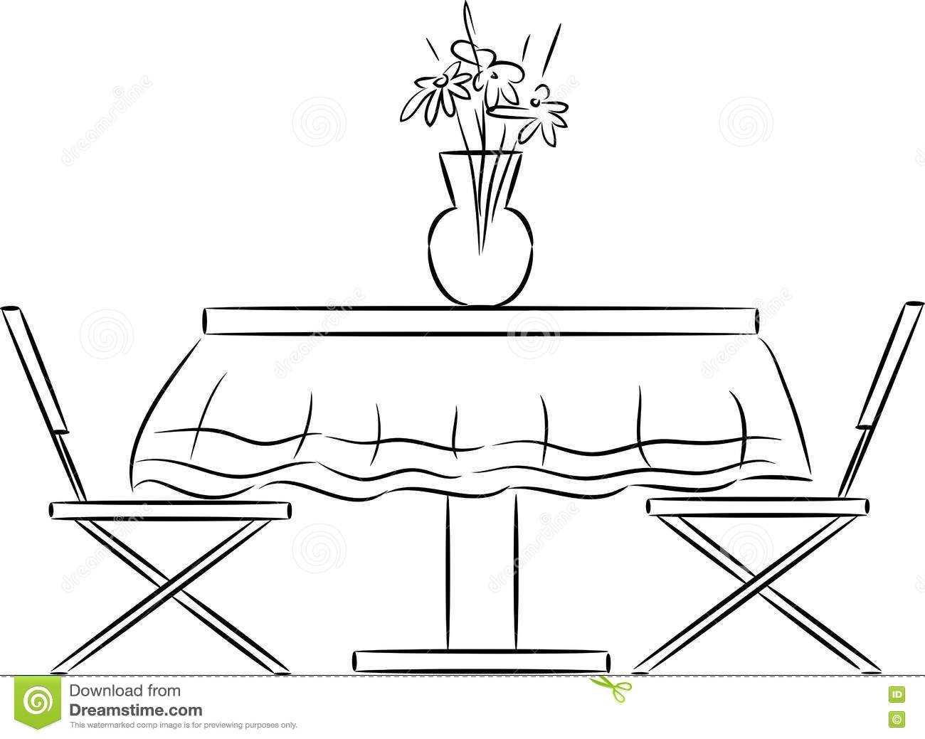 Sketch Of Kitchen Table And Chairs Stock Vector Illustration Of