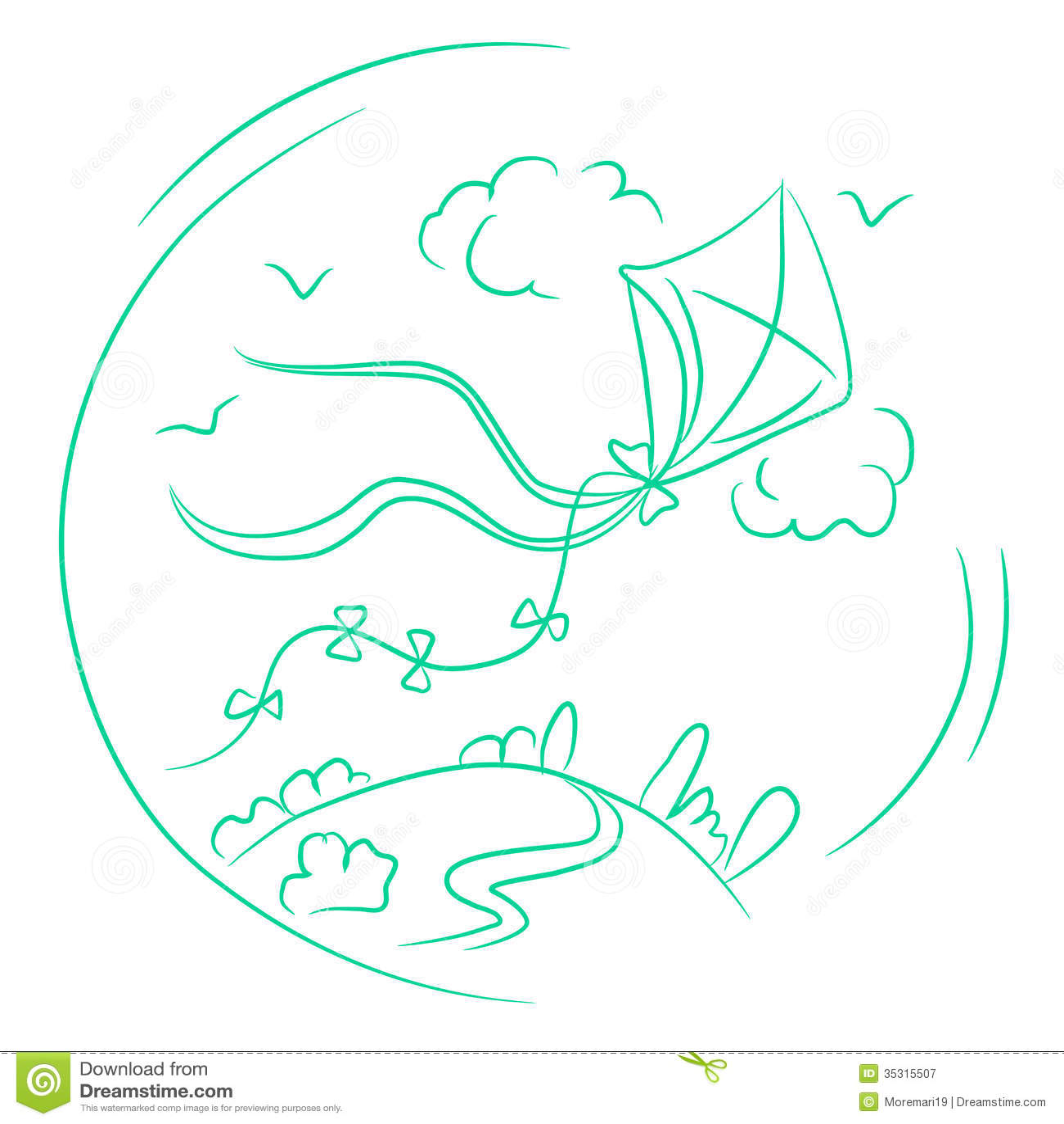 Landscape Illustration Vector Free: Sketch Of The Kite In A Landscape Stock Illustration