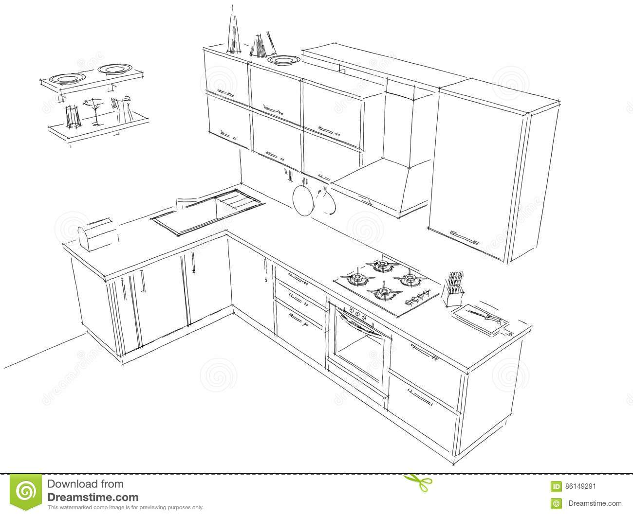 sketch layout drawing of 3d modern corner kitchen interior black and white stock illustration