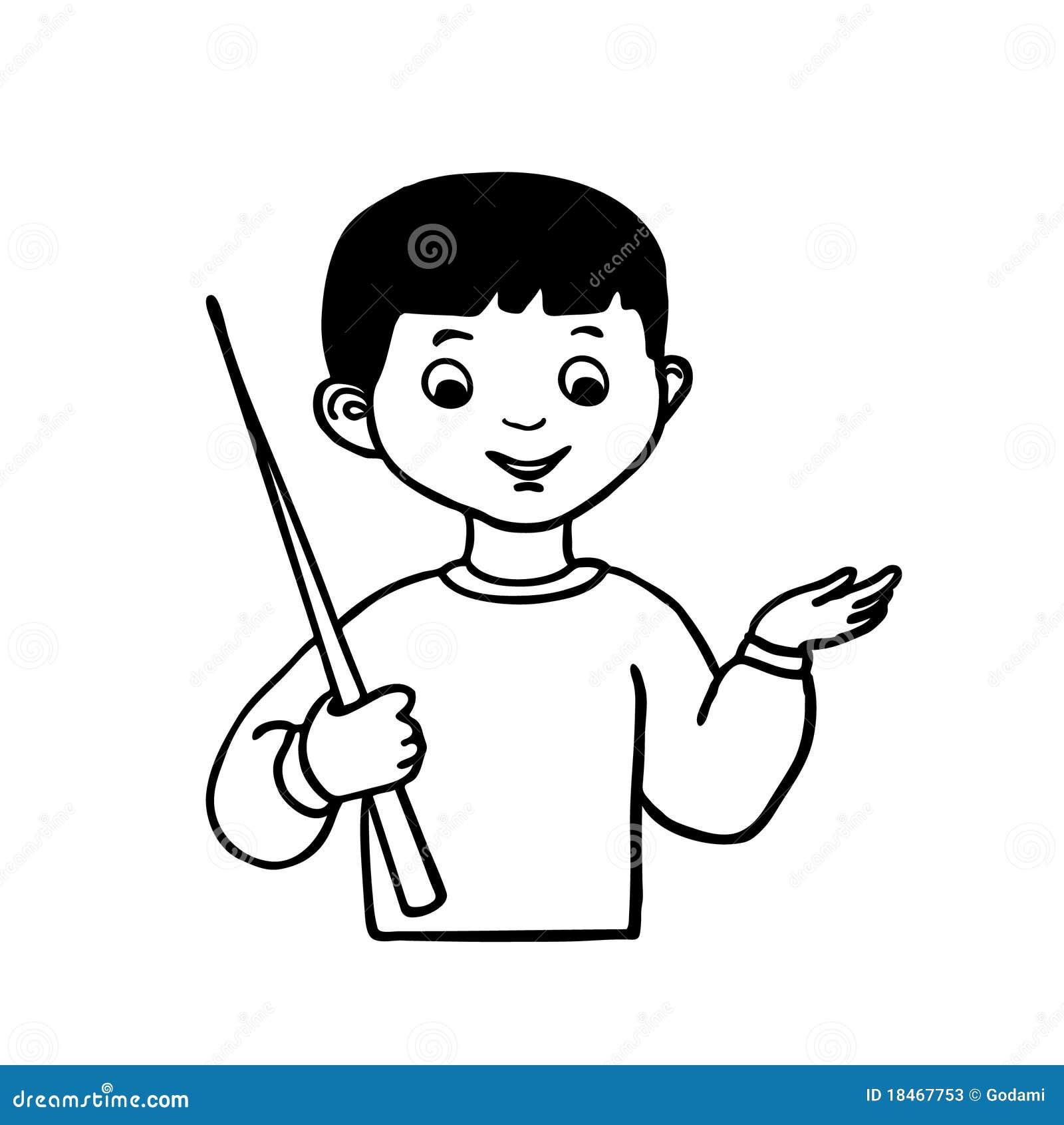 Sketch little boy with hand pointer