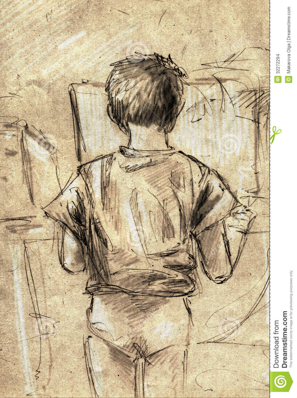 Sketch of a little boy using computer